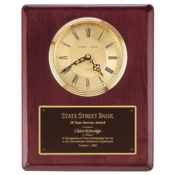 Rosewood Piano-Finished Clock. Waterfall Bezel with Glass Lens. Gold Dial, Three Hand Movement - BC68