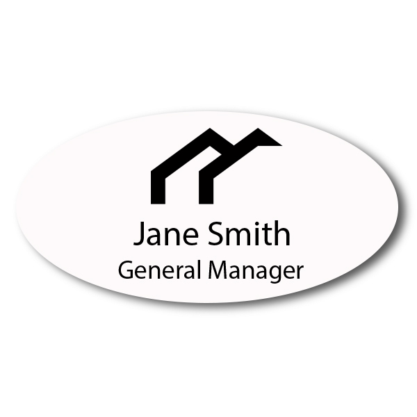 "Laser Engraved Oval White Name Tag - 1.5"" x 3"""