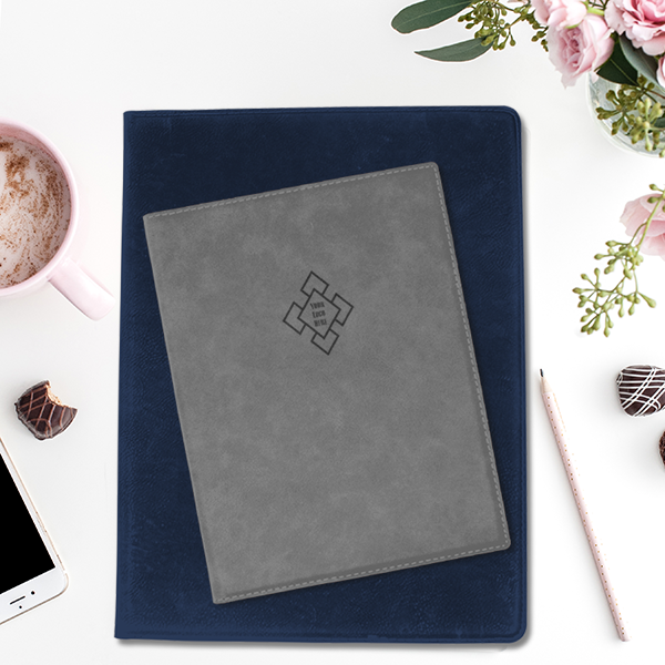Custom Logo Large Leatherette Folios Stacked on Desk