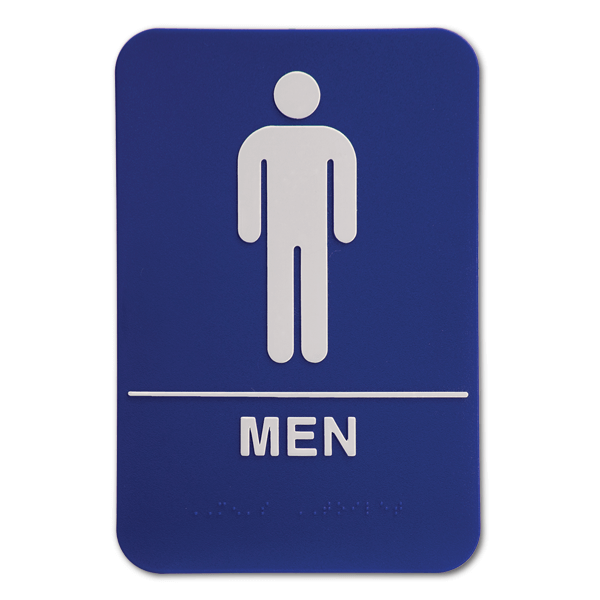 Blue ADA Braille Men's Restroom Sign