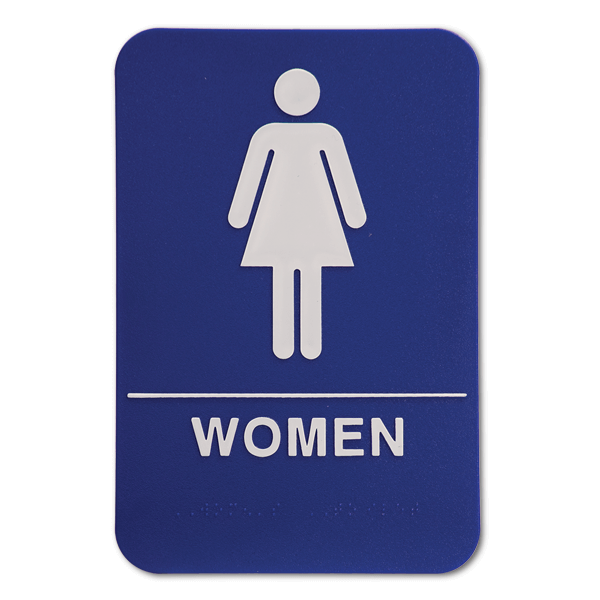 Blue ADA Braille Women's Restroom Sign