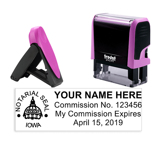 Iowa Notary Pink Stamp - Rectangle
