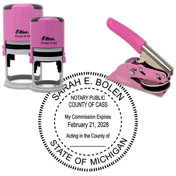 Michigan Notary Pink - Round Design