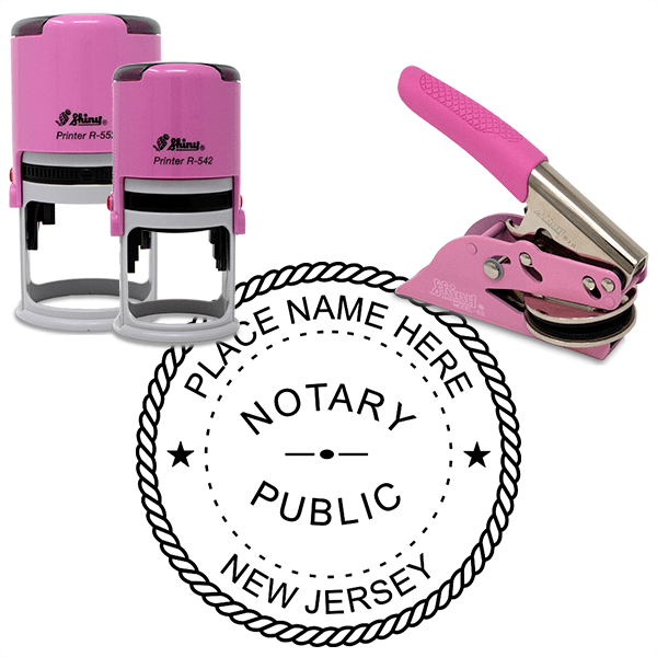 New Jersey Notary Pink - Round Design