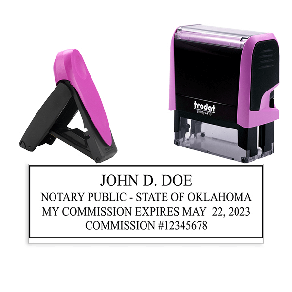 Oklahoma Notary Pink Stamp - Rectangle