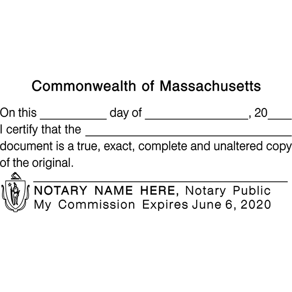 Massachusetts CERTIFIED TRUE COPY Notary Stamp Imprint Example