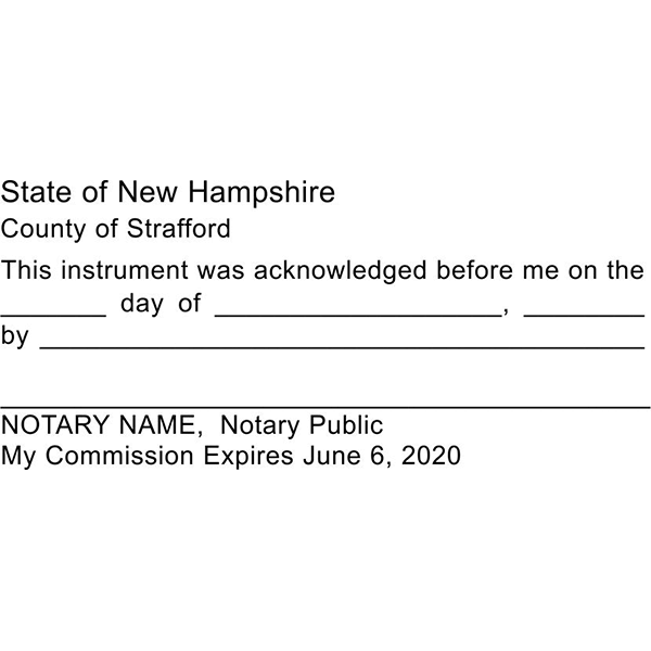 New Hampshire Acknowledgment Notary Stamp Imprint Example