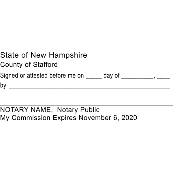 New Hampshire Signature Witness Notary Stamp Imprint Example