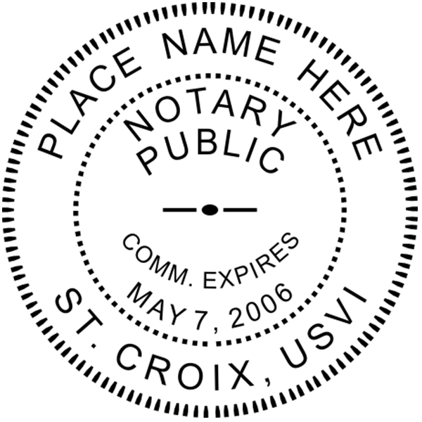 U.S. Virgin Islands Notary Seal - Round Imprint Example