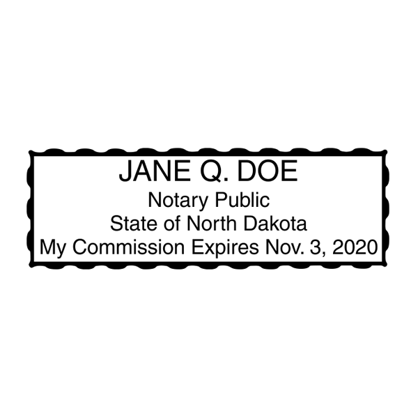 North Dakota Notary Pink Stamp - Rectangle Imprint Example