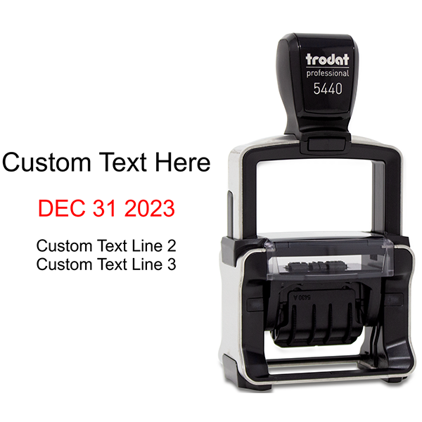 Trodat Dater 5440 with Custom Text Stamp Body and Design