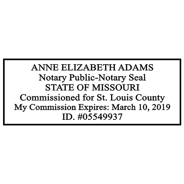 Missouri Notary Pink Stamp - Rectangle Imprint