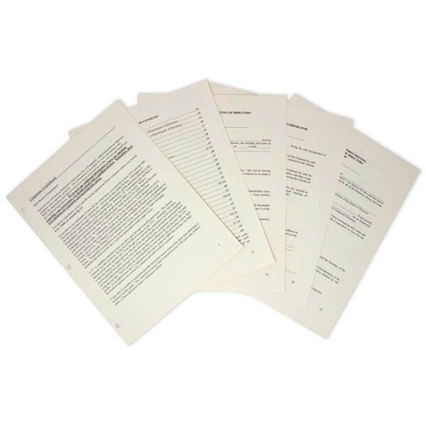 Corporate Printed Minutes & Bylaws for All States - Fanned Pages