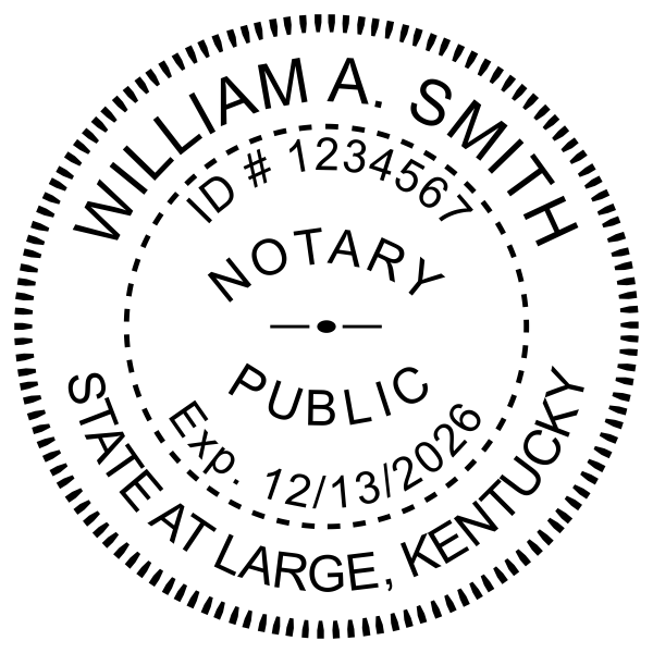 Kentucky Notary Round With Expiration Date - Stamp Imprint