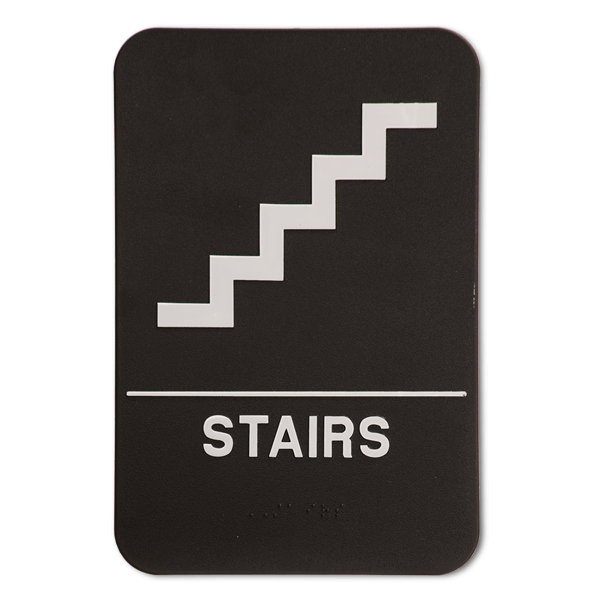 Black Stairs ADA Braille Sign