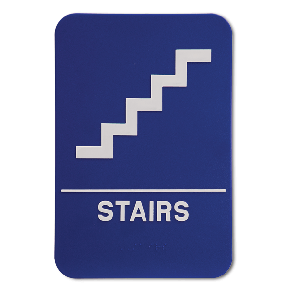 Blue Stairs ADA Braille Sign
