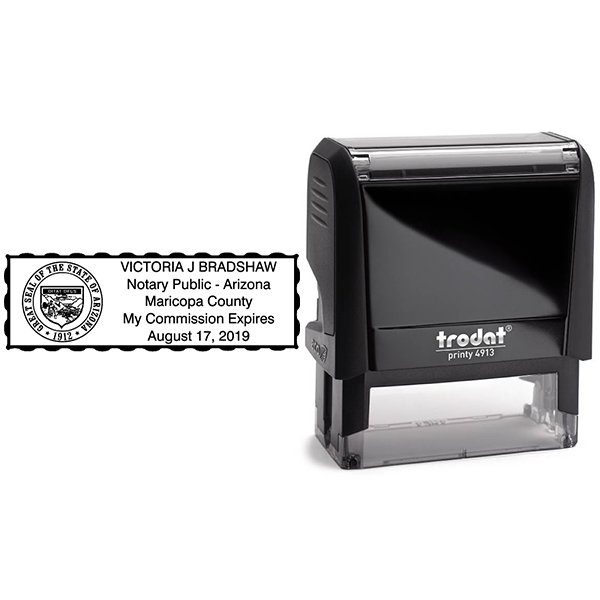 Arizona Notary Rectangular Stamp Body and Design
