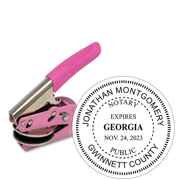 Georgia Notary with Expiration Date Pink Seal Embosser - Round
