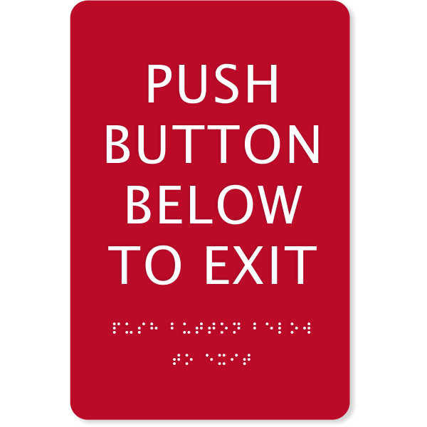 "ADA Braille Push Button Exit Sign | 9"" x 6"""
