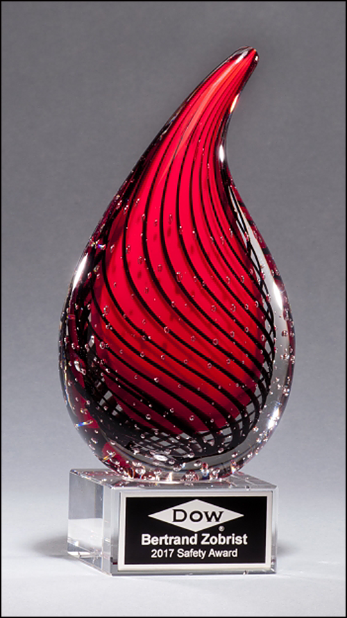 Red Droplet Shaped Art Glass Award