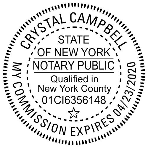 New York Notary Round with County and Expiration Imprint