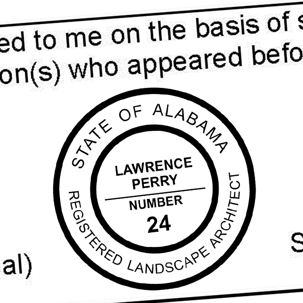 State of Alabama Landscape Architect Seal Imprint