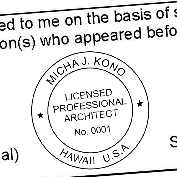 State of Hawaii Architect Seal Imprint