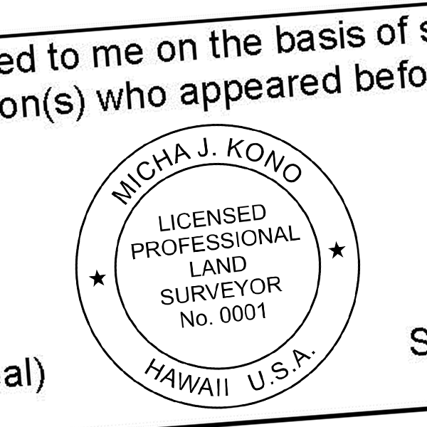 State of Hawaii Land Surveyor Seal Imprint