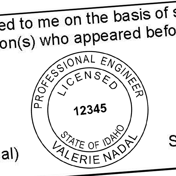 State of Idaho Engineer Seal Seal Imprint
