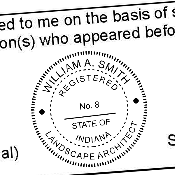State of Indiana Landscape Architect Seal Imprint