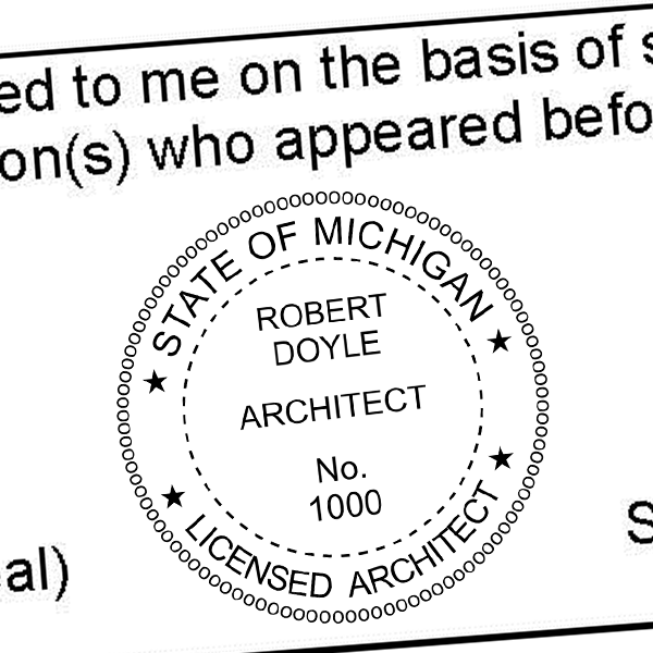 State of Michigan Architect Seal Imprint