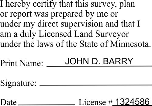 State of Minnesota Land Surveyor Certification