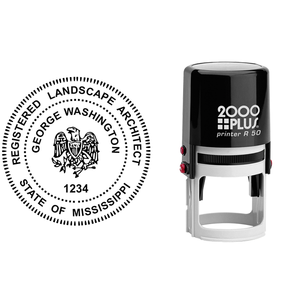 State of Mississippi Landscape Architect Seal Body and Imprint