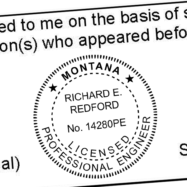State of Montana Engineer Seal Seal Imprint