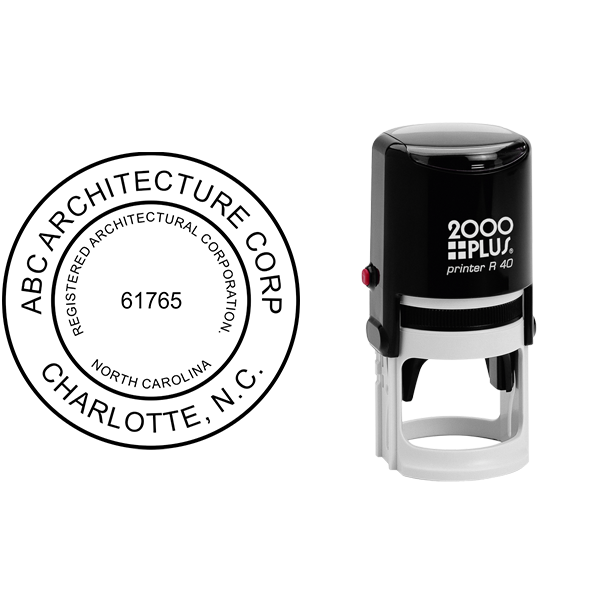 State of North Carolina Architectural Corporation Seal Body and Imprint