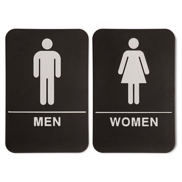 "ADA Braille Men's & Women's Restroom Sign Set 6"" x 9"" Black"