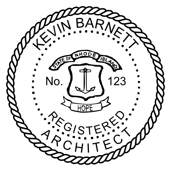 State of Rhode Island Architect Seal Imprint