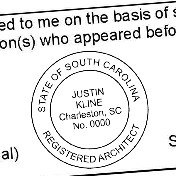 State of South Carolina Architect Seal Imprint