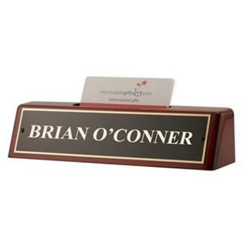 Rosewood Piano Finish Desk Name Plate with Business Card Holder