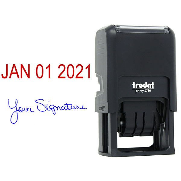 Self-Inking Date and Signature Stamp Body and Design