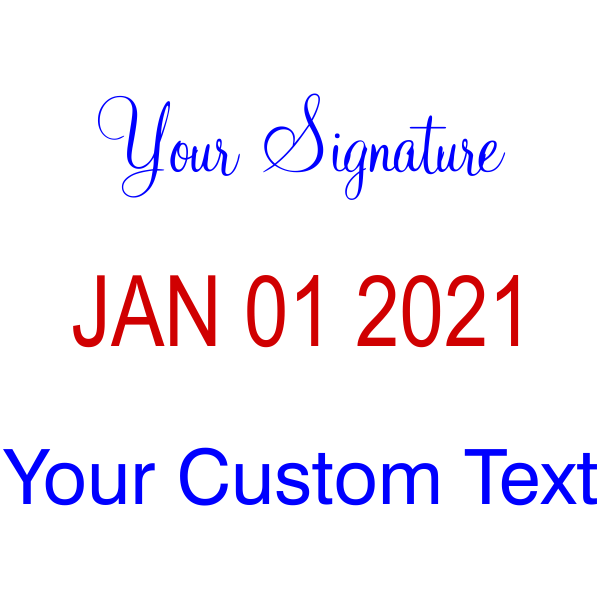 Self-Inking Signature Stamp with Custom Text and Dater Imprint