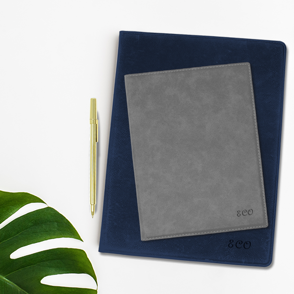 Custom Script Initials Faux Leather Portfolio