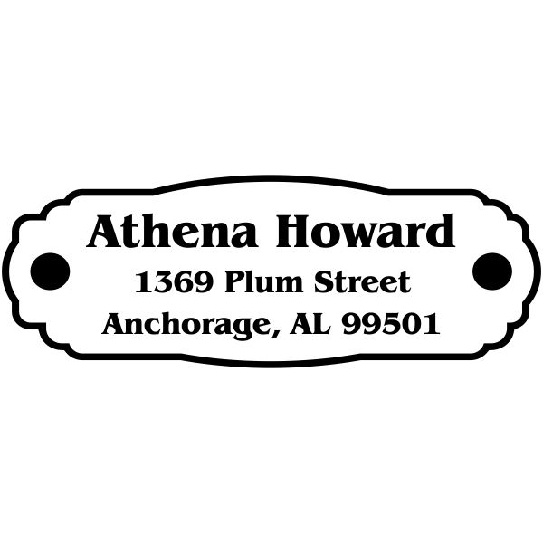 Small oval rubber address stamp