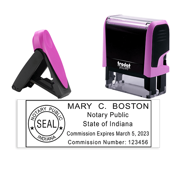 Indiana Notary Pink Stamp - Rectangle
