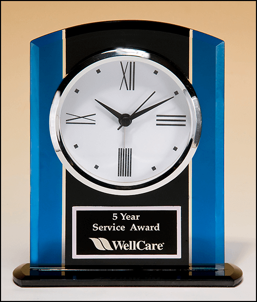 Black & Blue Glass Clock with Silver Accents and Engraved Plate | 5.25