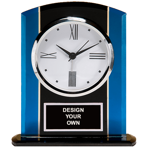 """Black & Blue Glass Clock with Silver Accents and Engraved Plate 