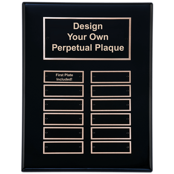 P5062 Black Piano Finish 9x12 Perpetual Plaque with 12 Plates