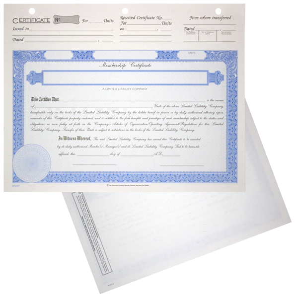BLUTO 03 Limited Liability Partnership Membership Certificates Blank Set of 20