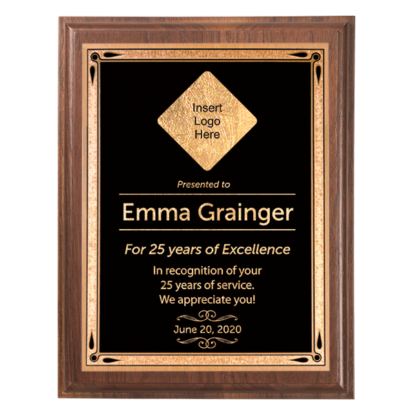 Career Recognition 5 x 7 Walnut Plaque