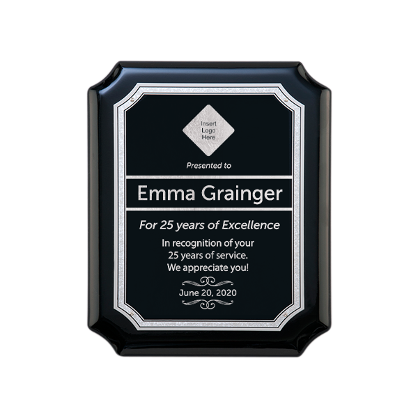 Career Recognition Gloss Black and Silver Wall Plaque with Scalloped Corners